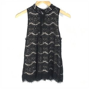 By & By Black Sleeveless Lace High Neck Blouse